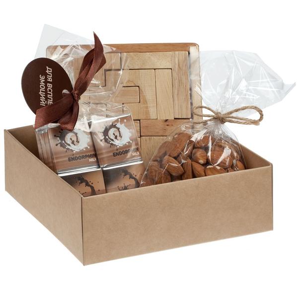Набор Recharge: деревянный пазл, набор шоколада, миндаль, бежевый