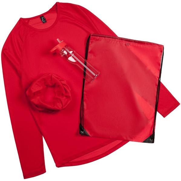 Набор Relay Race Men: футболка с длинным рукавом, многофункциональная бандана, спортивная бутылка, красный - фото № 1