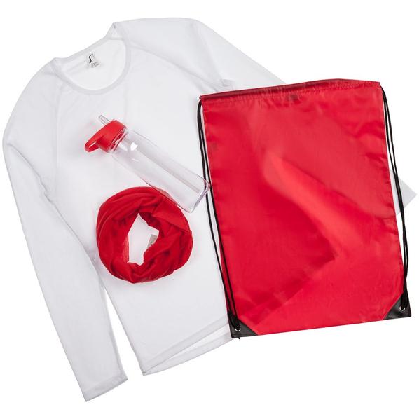 Набор Relay Race Women: футболка с длинным рукавом, многофункциональная бандана, спортивная бутылка, белый/ красный - фото № 1