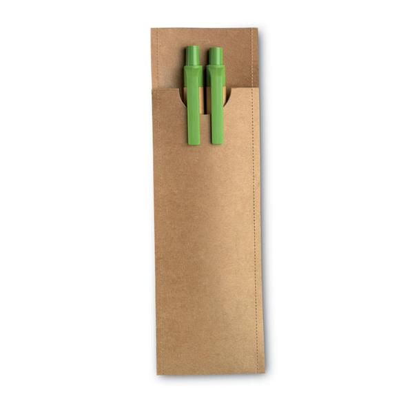 Набор: ручка шариковая пластиковая, карандаш механический, салатовый / крафт - фото № 1