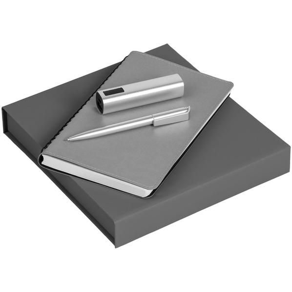 Набор Scroll Energy: ежедневник Scroll, ручка шариковая Flip Silver, аккумулятор Easy Metal, 2200 мАч, серый - фото № 1