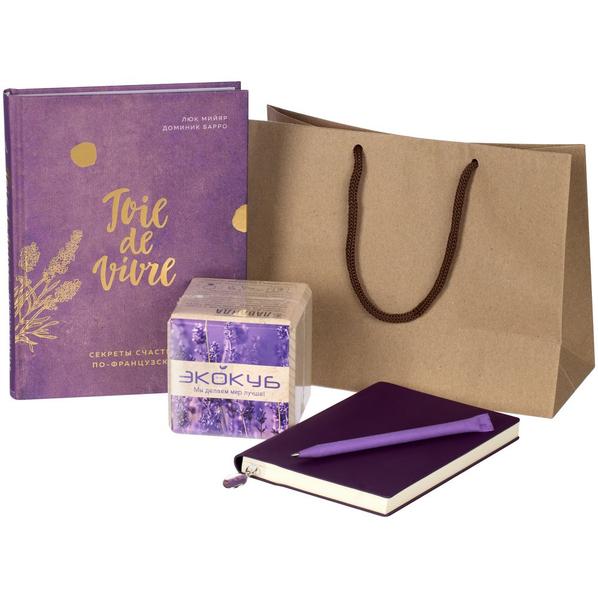 Набор «Секреты счастья»: книга, набор для выращивания «Экокуб», ежедневник Chillout Mini, ручка шариковая Carton Color, фиолетовый - фото № 1