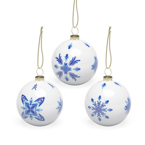 Набор шаров «Гжель», 3 шт в подарочной коробке, белый / голубой - фото № 1