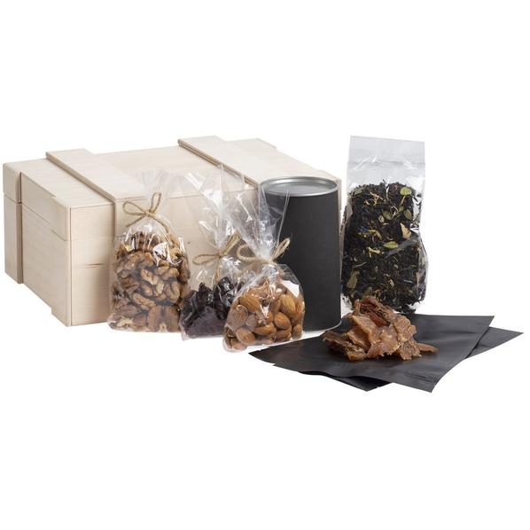 Набор Сибириада: грецкие орехи, чай, вяленая клюква, миндаль, мясные снеки, черный - фото № 1
