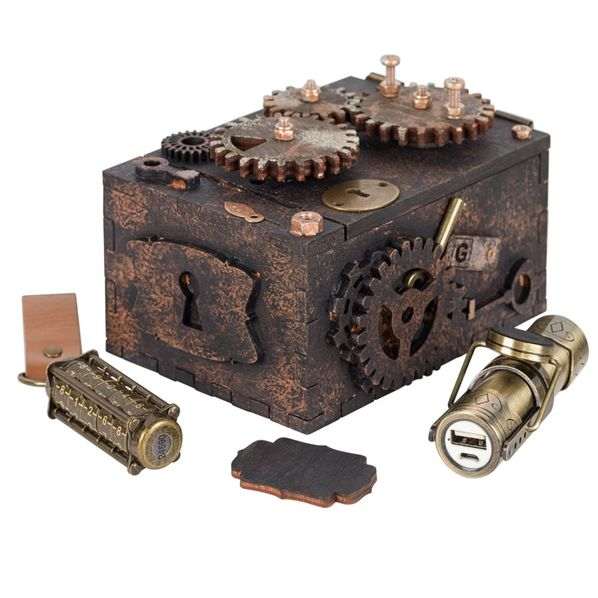 Набор Скрытые резервы: шкатулка-головоломка, внешний аккумулятор Power Source 3000 мАч, флешка 32 Гб, бронза - фото № 1