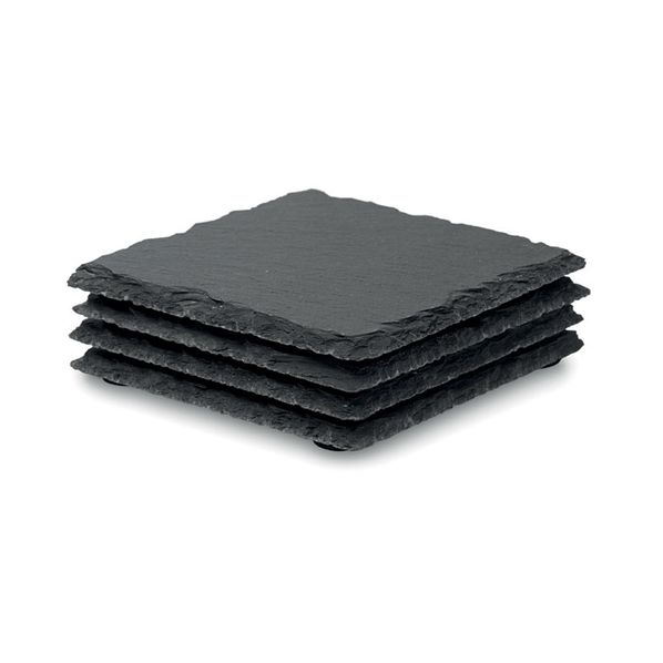 Набор Slate4: 4 костера из сланца, черный - фото № 1