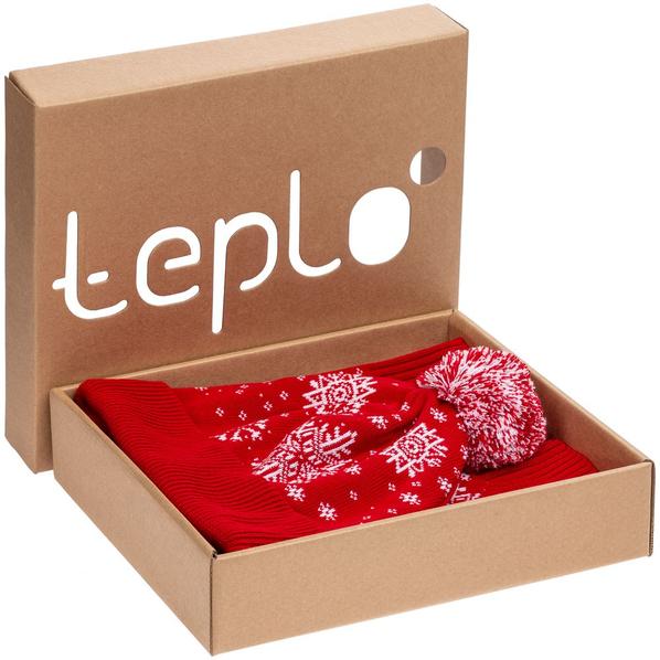 Набор teplo Snow Fashion: шапка, шарф, варежки, красный - фото № 1