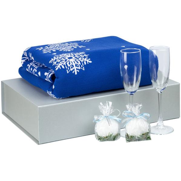Набор Snow Frost: плед, два бокала для шампанского, свечи 2 шт., синий - фото № 1