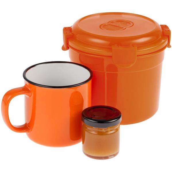 Набор Stacky: ланч-бокс Barrel Roll, кружка Dacha, мед Bee To Bear Mini, оранжевый - фото № 1