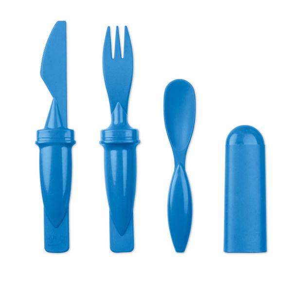 Набор столовых приборов 3 в 1, голубой - фото № 1