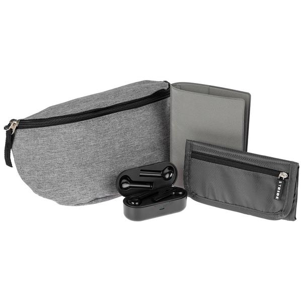 Набор Street Beat: сумка поясная, кошелек Torren, беспроводные наушники Nextlevel, обложка для паспорта Devon, серый/ черный - фото № 1