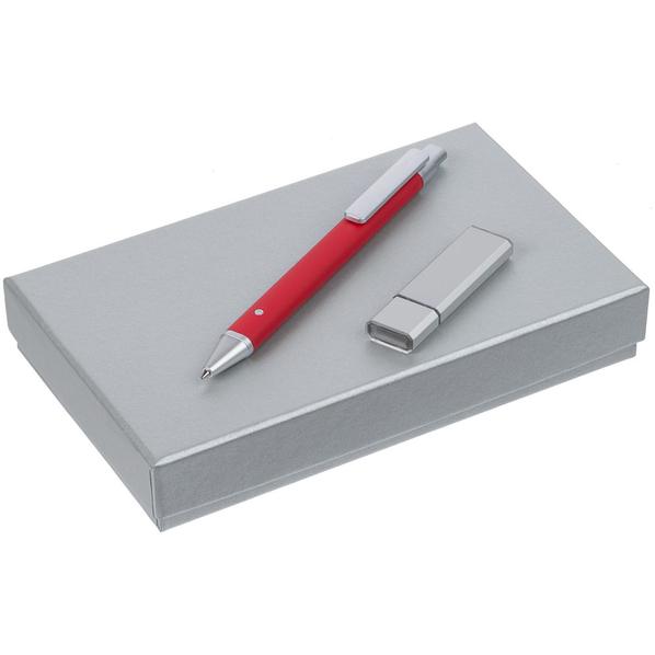 Набор Tabular: шариковая ручка, флешка на 16 Гб, красный - фото № 1