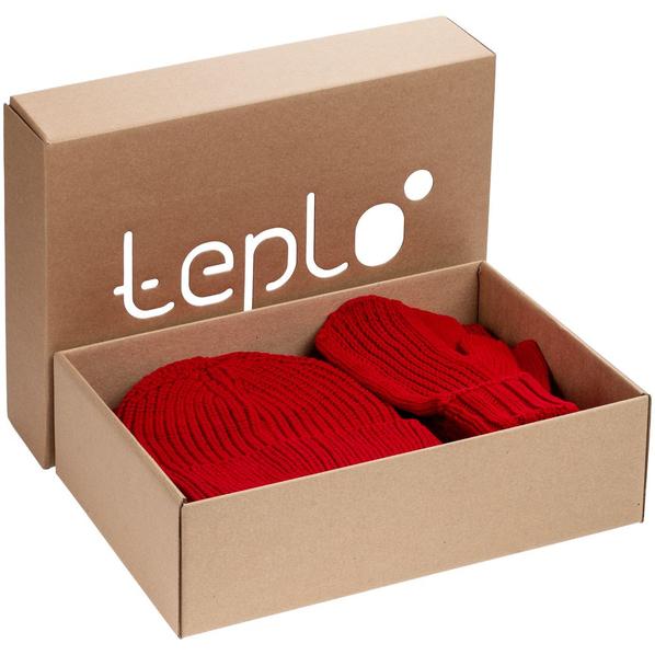 Набор Teplo Nordkyn Full Set: шапка, шарф, варежки, красный - фото № 1