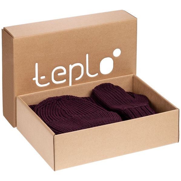 Набор Teplo Nordkyn: шарф, шапка, варежки, бордовый - фото № 1