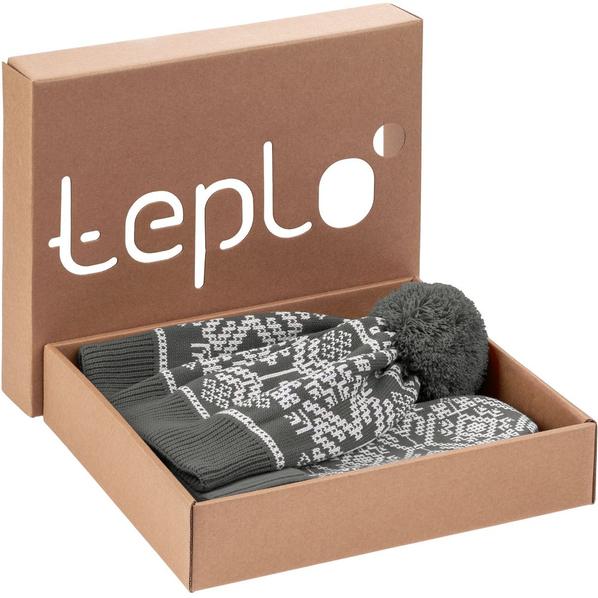 Набор Teplo Onego: шарф, шапка, варежки, серый - фото № 1