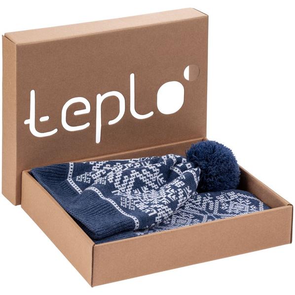 Набор Teplo Onego: шарф, шапка, варежки, синий - фото № 1