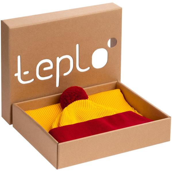 Набор Teplo Snappy: шапка, шарф, желтый / красный - фото № 1