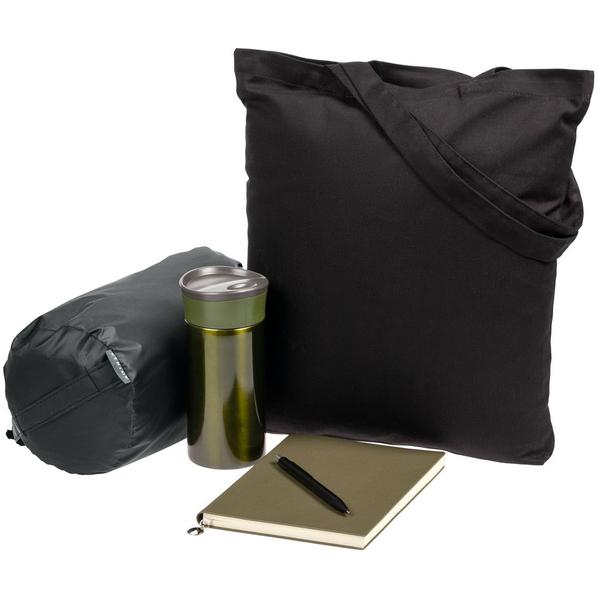 Набор Town Lawn: сумка, плед, ежедневник, термостакан, ручка, чёрный / зеленый / серый - фото № 1