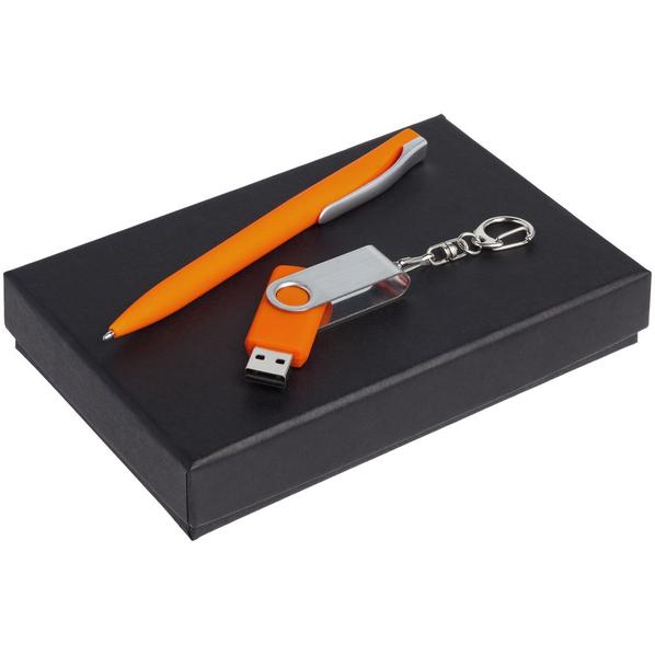 Набор Twist Classic: ручка шариковая Pin Soft Touch, флешка Twist 16 Гб, оранжевый - фото № 1