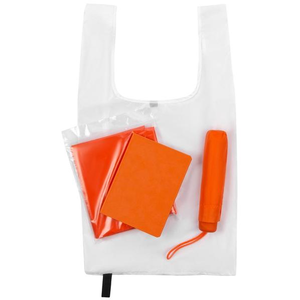 Набор Umbrella Academy: зонт складной Unit Basic, ежедневник Flex Shall, складная сумка Packins, дождевик CloudTime, оранжевый - фото № 1