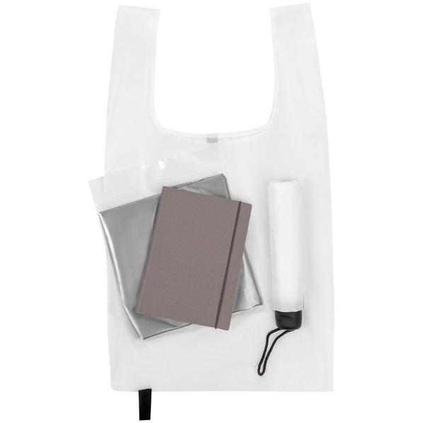 Набор Umbrella Academy: зонт складной Unit Basic, ежедневник Flex Shall, складная сумка Packins, дождевик CloudTime, серый / белый - фото № 1