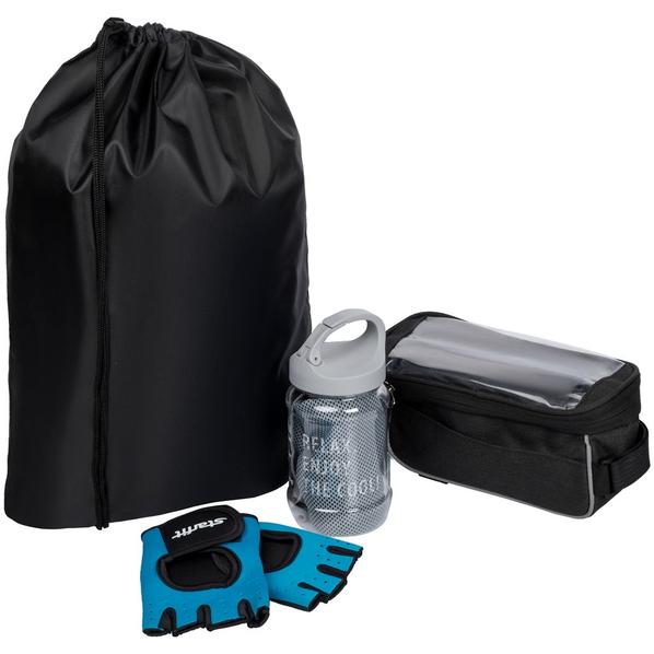 Набор велосипедиста Spokes And Levers: перчатки для фитнеса, охлаждающее полотенце, велосумка, черный - фото № 1
