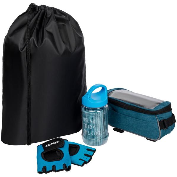 Набор велосипедиста Spokes And Levers: перчатки для фитнеса, охлаждающее полотенце, велосумка, синий - фото № 1