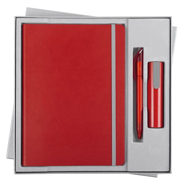 Набор Vivid Energy: ежедневник Vivien, ручка шариковая Prodir, внешний аккумулятор 2200 mAh, красный