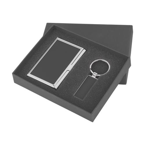 Набор визитница с брелоком в коробке, черный - фото № 1