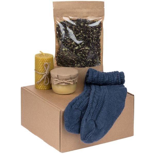 Набор Warmkeeper: носки, свеча, крем-мед, чай, синий - фото № 1