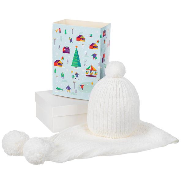 Набор Winter Fantasy: шапка и шарф, белый - фото № 1