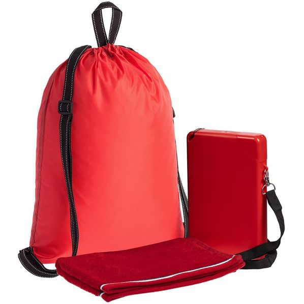 Набор Work Out: бутылка для воды Flatbed, полотенце Athleisure Small, рюкзак Unit Novvy, красный - фото № 1