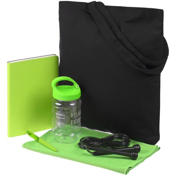 Набор Workout: сумка, полотенце охлаждающее, ежедневник, скакалка, ручка шариковая, чёрный / зеленый - фото № 1
