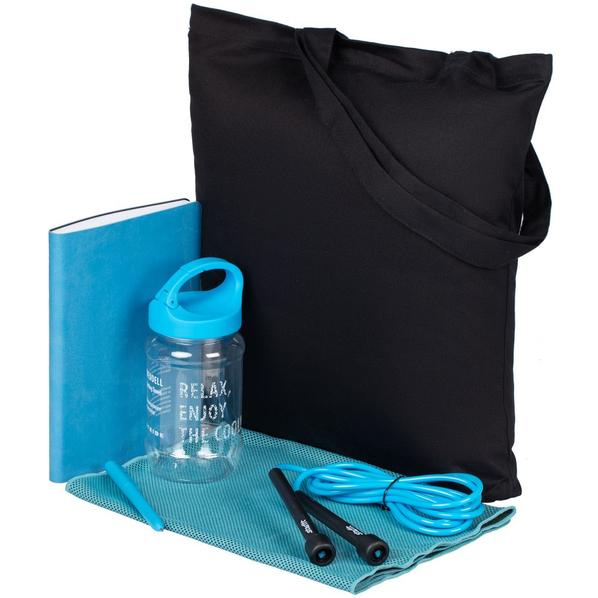Набор Workout: сумка, полотенце охлаждающее, гантель, ежедневник, скакалка, ручка шариковая, чёрный / голубой - фото № 1