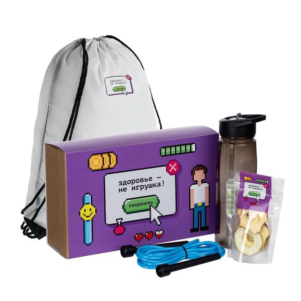 Набор «Здоровье — не игрушка»: рюкзак, спортивная бутылка, скакалка, сушеные яблоки, фиолетовый/ белый - фото № 1