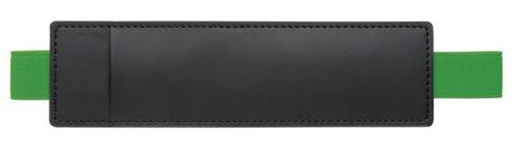 Чехол для ручки из кожзама с резинкой Holder Soft, черный / зеленый - фото № 1