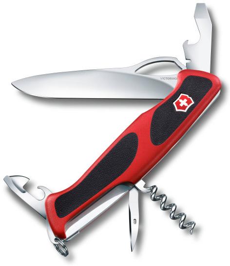 Нож складной Victorinox RangerGrip 61, 130 мм., красный/ черный - фото № 1