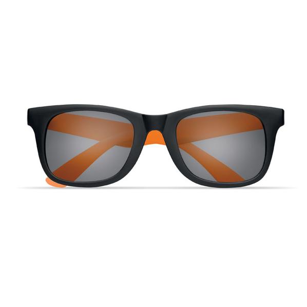 Очки солнечные с цветными дужками, черный/оранжевый - фото № 1