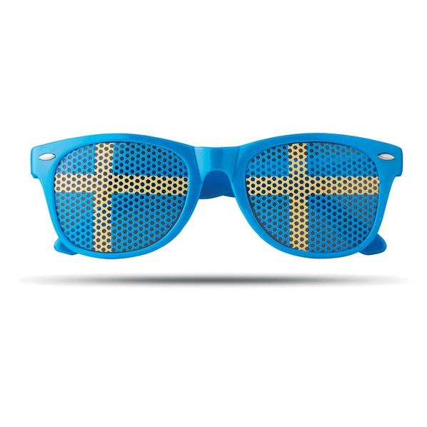 Очки болельщика с наклейкой-флагом страны (Швеция), голубой/желтый - фото № 1