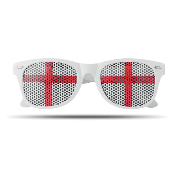 Очки болельщика с наклейкой-флагом страны (Англия), белый, красный - фото № 1