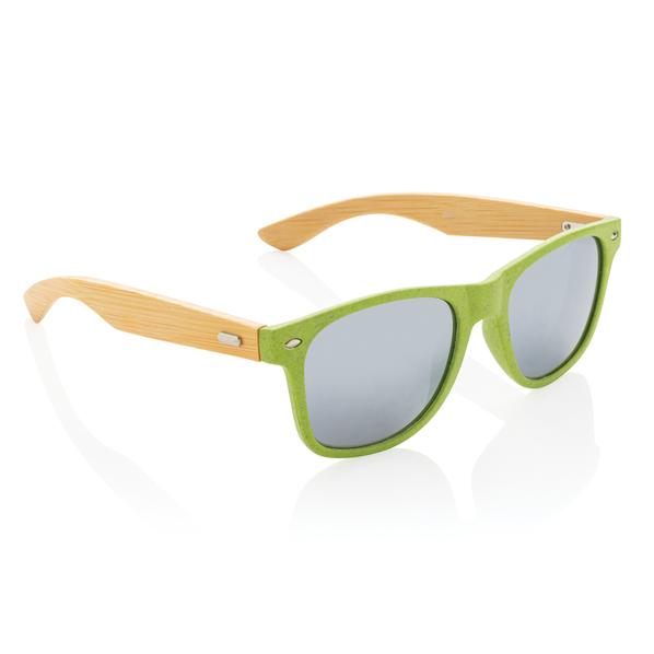 Очки солнцезащитные с бамбуковыми дужками унисекс XD Collection Wheat straw, зелёные / крафт - фото № 1