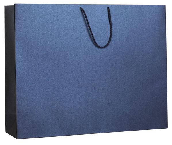 Пакет бумажный Блеск, большой, синий - фото № 1