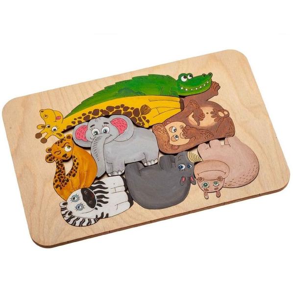 Пазл-раскраска Wood Games, африканские животные - фото № 1