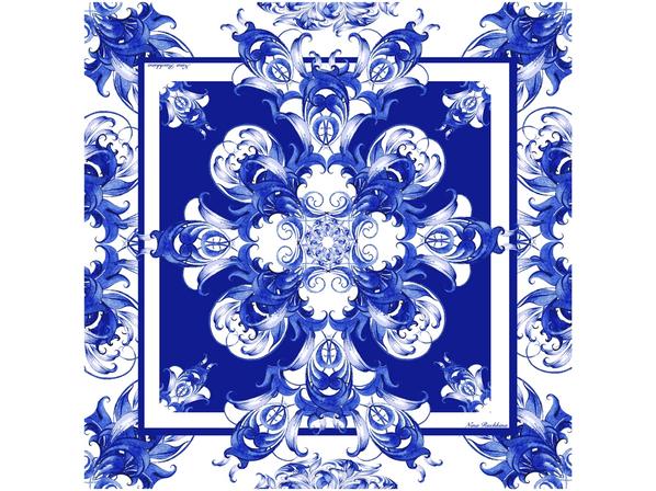 Платок Гжель, синий/ белый - фото № 1