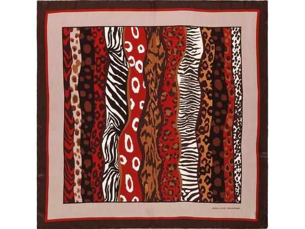 Платок шелковый Jean-Louis Scherrer Savane, коричневый - фото № 1
