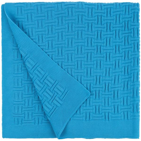 Плед акриловый двусторонний Teplo Biscuit, ярко-голубой - фото № 1