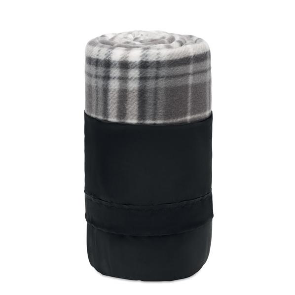 Плед флисовый Dinara, черный/ серый - фото № 1