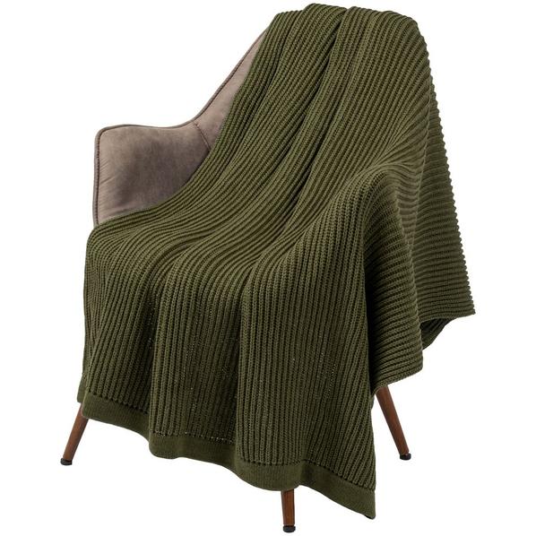 Плед Very Marque Shirr, зеленый - фото № 1
