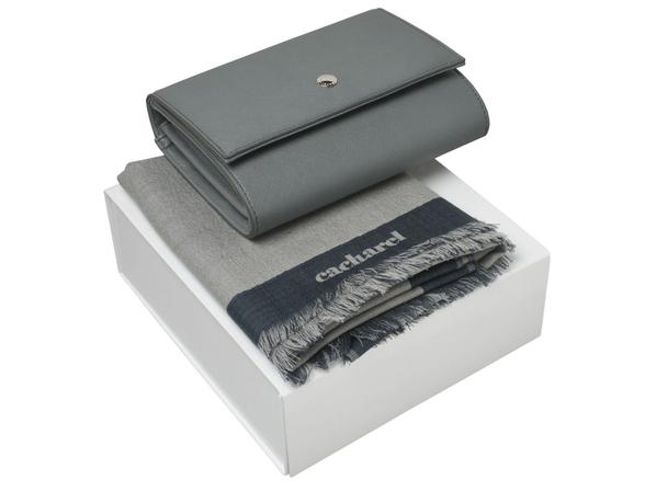 Набор подарочный Cacharel Bird: шарф, сумочка, серый - фото № 1