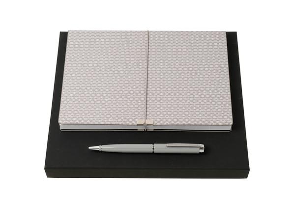 Подарочный набор: блокнот А5, ручка шариковая, серебристый - фото № 1